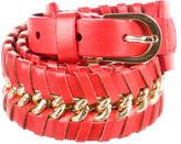 Oscar de la Renta Leather Chain-Link Waist Bely