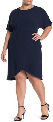 Bobeau Crepe Wrap Skirt Dress (Plus Size)