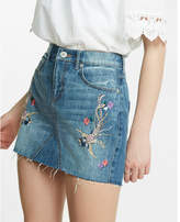 Express mid rise embroidered denim mini skirt