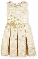 Oscar de la Renta Jacquard Pleated Bow Party Dress, Gold, Size 2-14