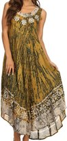 Sakkas 15009 - Alexis Embroidered Long Sleeveless Floral Caftan Dress / Cover Up - OS