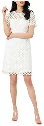 Milly Lattice Embroidery Angela Dress (White) Women's Clothing