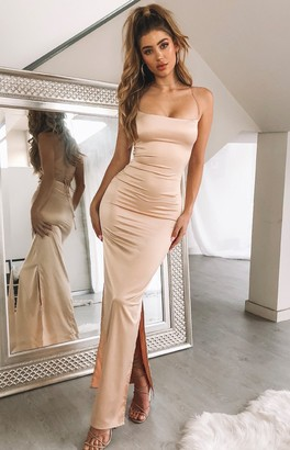 The Edit Manhattan Slip Formal Dress Champagne