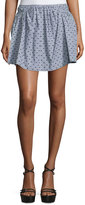 See by Chloe Dot-Print Mini Skirt, Gray/Multi