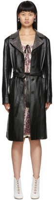 Miu Miu Black Leather Crystal Collar Trench Coat