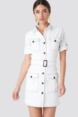 NA-KD Utility Short Sleeve Dress White