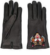 Gucci Angry Cat gloves - men - Lamb Skin/Polyester/Cashmere - 9