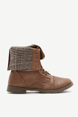 Ardene Folded Plaid Combat Boots