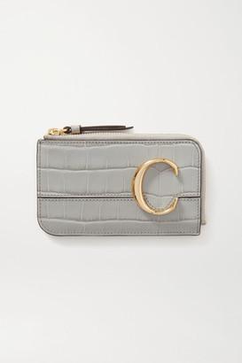 Chloé C Croc-effect Leather Cardholder - Gray