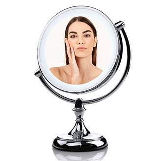 Ovente Battery or USB Adapter Operated Tabletop Vanity Makeup Mirror 9.5 Inch with 1X 5X Magnification and Dimmable LED Lights (MGT95CH1X5X)