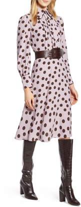 Halogen x Atlantic-Pacific Button & Pleat Polka Dot Fit & Flare Dress