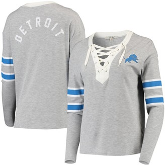 Junk Food Clothing Unbranded Women's Gray Detroit Lions Thermal Tri-Blend Lace-Up Long Sleeve T-Shirt