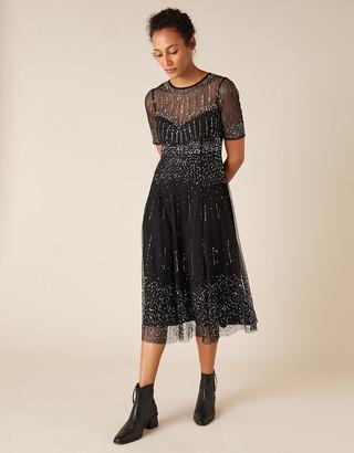Monsoon Haley Sequin Midi Dress Black