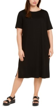 Eileen Fisher System Plus Size Round-Neck Shift Dress