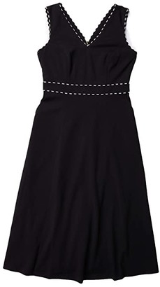 Calvin Klein A-Line Dress with Trim Detail (Black/Cream) Women's Dress