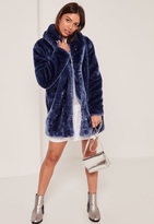 Missguided Pressed Faux Fur Coat Navy