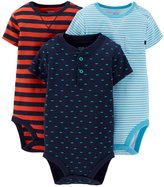 Carter's Just One You Baby Boys' Stripe/Car Print 3 Pack Bodysuits, 24M
