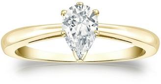 Auriya 14k Gold 1/2ctw Pear Shape Solitaire Diamond Engagement Ring