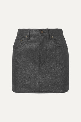 Saint Laurent Glittered-denim Mini Skirt - Black
