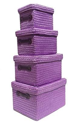 topfurnishing Neon Bright Colours Kids Playroom Toy Box Cupboard Storage Basket + Handle & Lid[Purple,EXTRA LARGE 36x28x24cm]