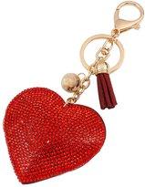 Qiyun Heart Pendant Key Chain Rhinestone Keyring Purse Car Alloy Keyfob Porte-cles