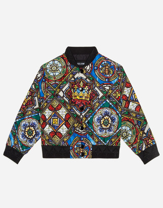 Dolce & Gabbana Nylon Bomber Jacket With Stained Glass Window Print