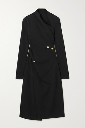 Proenza Schouler Asymmetric Draped Button-embellished Crepe Midi Dress - Black