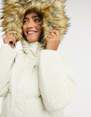 Brave Soul falcon high shine puffer jacket with faux fur trim hood