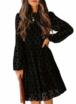 CORAFRITZ Women's Long Sleeve Casual Tie Waist Dress Sexy Polka Dot Tunic Dress Mesh Cocktail Dress Black