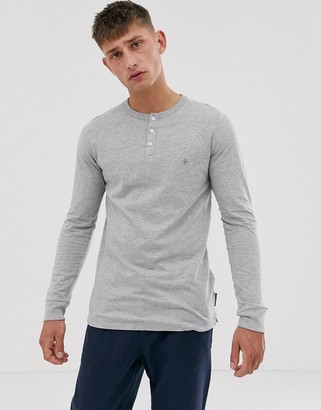 French Connection long sleeve grandad neck long sleeve top-Grey