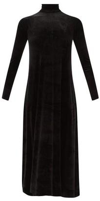 Norma Kamali Roll-neck Cotton-blend Velvet Dress - Black