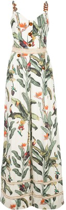 PatBO Tropical-Print Decorative-Button Maxi Dress