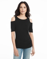 White House Black Market Elbow Sleeve Cold-Shoulder Top