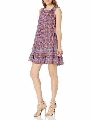 BCBGMAXAZRIA Azria Women's Yulissa Sleeveless Ruffled Button Detail Woven City Dress