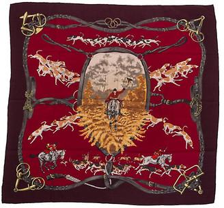 One Kings Lane Vintage Hermes Cashmere Le Bien Aller Scarf - Vintage Lux - black/red
