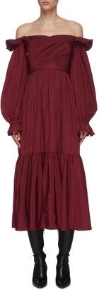 Self-Portrait 'Berry' off shoulder balloon sleeve taffeta dress