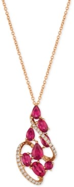 LeVian Le Vian Certified Passion Ruby (2-1/3 ct. t.w.) & Diamond (1/5 ct. t.w.) Pendant Necklace in 14k Rose Gold