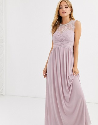 Lipsy ruched maxi dress with lace yolk and embellished neck in lavender