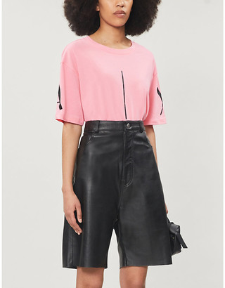 Armani Exchange Boxy cropped cotton-jersey T-shirt, Size: L