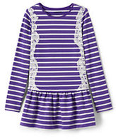 Classic Little Girls Stripe Skirted Legging Top-Bright Teaberry Large Stripe