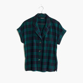 Madewell Flannel Bedtime Pajama Top in Dark Plaid