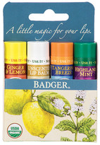Badger Classic Lip Balm Sticks Ginger Lemon, Unscented, Tangerine, Mint