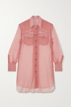 Brunello Cucinelli Silk-chiffon Shirt - Blush