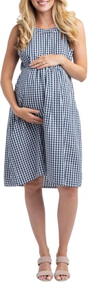 Nom Maternity Molly Gingham Maternity Dress