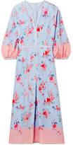 Vilshenko Evie Printed Silk-satin Midi Dress - Sky blue