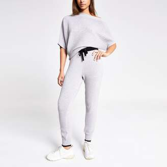 River Island Womens Light Grey knitted joggers