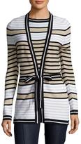 Carolina Herrera Silk Striped Tie Bow Sweater