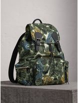 Burberry The Large Rucksack in Beasts Print Nylon and Leather