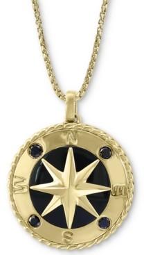 "Effy Men's Black Sapphire (1/4 ct. t.w.) & Onyx 22"" Compass Pendant Necklace in 14k Gold"