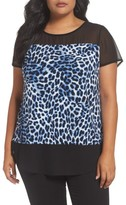 Vince Camuto Plus Size Women's Leopard Song Mixed Media Top